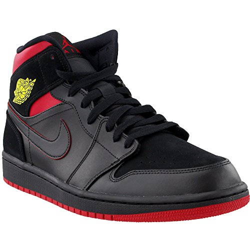 separation shoes 536c6 3a408 Nike Mens Air Jordan 1 Mid Basketball Shoe (11.5). Mens Air Jordan 1 Mid  Last Shot Black Red Yellow 554724-076
