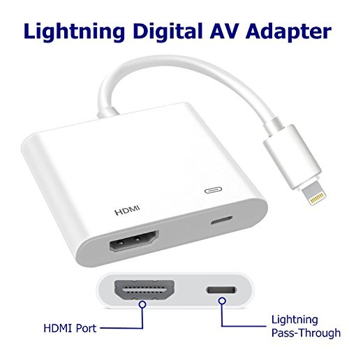 Lighting to HDMI, Lightning Digital AV Adapter, Compatible iPhone, iPad,  and iPod Touch Models, with Lightning Charging Port for HD TV Monitor