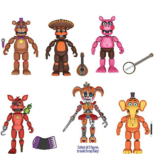 Five Nights at Freddy's: Pizza Simulator Pigpatch, El Chip, Rockstar  Freddy, Rockstar Foxy, And Orville Elephant 5-Inch Action Figures Set Of 5  To