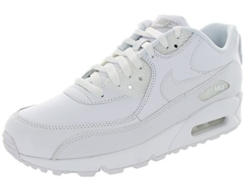 Nike Air Max 90 Leather White White Men s Running Shoes 302519-113 cfaa0367f8