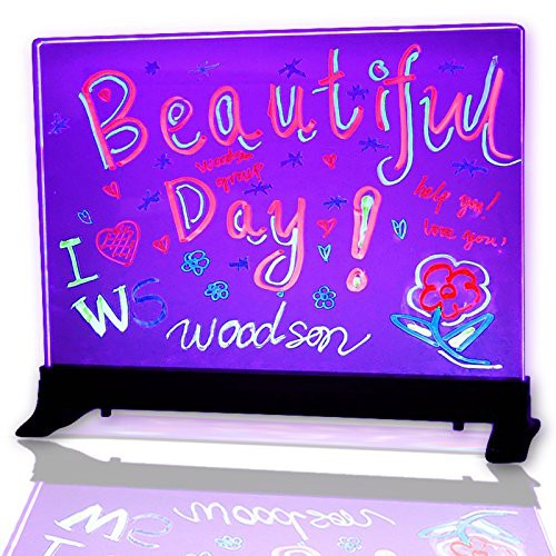 Woodsam LED Message Writing Board, Clear Glass Flashing Menu Sign Board,  Remote Controlled Multiple Colors & Flash Modes (16