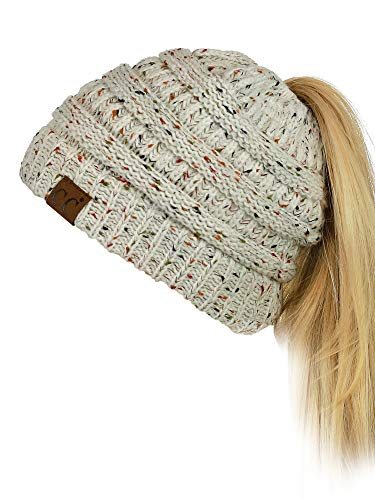5f5fbf4c8b3 UPC 714676719516. C.C BeanieTail Soft Stretch Cable Knit Messy High Bun  Ponytail Beanie Hat