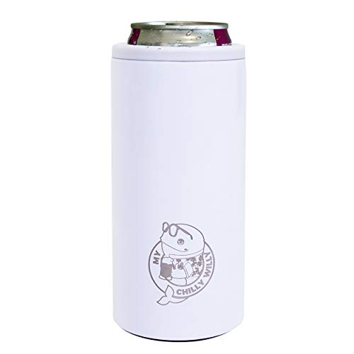 Double Walled Drink Keeper Can Insulator Stainless Steel Insulated Can Cooler Seltzer Buddy by My Chilly Willy black Skinny Tumbler Can Coolers for Slim 12oz Beer Cans like Truly and White Claw