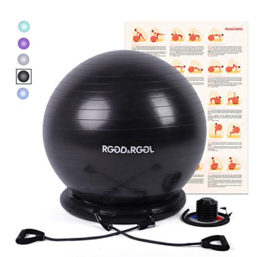 Upc 755320628693 Rggd Rggl Yoga Ball Chair Exercise Balance Ball Chair 65cm With Inflatable Stability Ring 2 Resistant Bands And Pump For Core Strength And Endurance Barcode Index