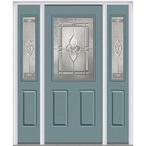 National Door Company Z012897L Steel, Riverway, Left Hand In-swing,  Exterior Prehung Door, Master Nouveau, 1/2 Lite 2-Panel, 36