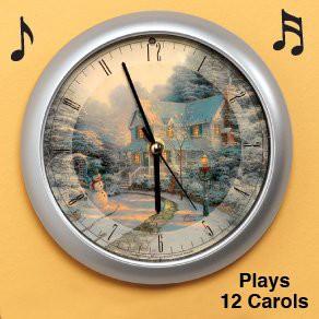 Mark Feldstein /& Associates Thomas Kinkade The Night Before Christmas Musical Musical Christmas Carol Clock-8
