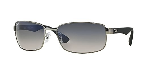 1300320b06 Ray-Ban RB3478 Polarized Rectangle Sunglasses (Gunmetal Gray Blue Gradient  Gray)