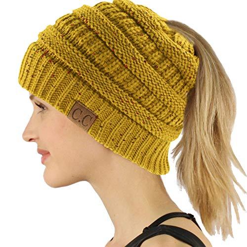 295b8566255 UPC 810005151702. CC Ponytail Messy Bun BeanieTail Soft Winter Knit  Stretchy Beanie Hat Cap Confetti Mustard
