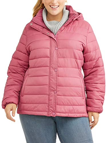 b63afdf8ae7 Time and Tru Plus-Size 1X-5X Women s Hooded Bubble Puffer Coat Jacket (Rose  Glitz