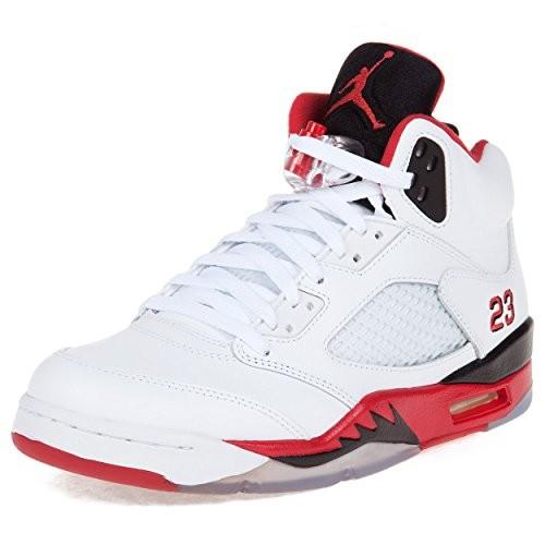 e331af2266b1 UPC 883153162982. Nike Mens Air Jordan 5 Retro Black Tongue White Fire Red Blk  Leather basketball-shoes ...