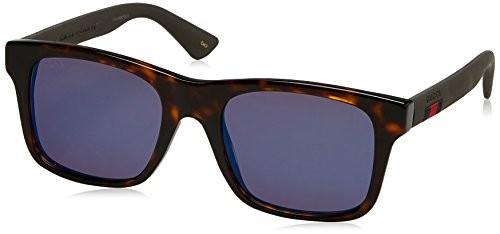 ab12b396d2 Gucci Mirrored GG0008S-003-53 Brown Square Sunglasses